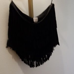Haute Hippie Black suede fringe mini L